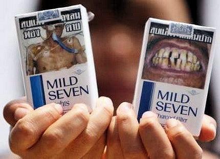 Тайские пачки сигарет с предупредительными надписями и фотографиями заболевания вызываемых курением