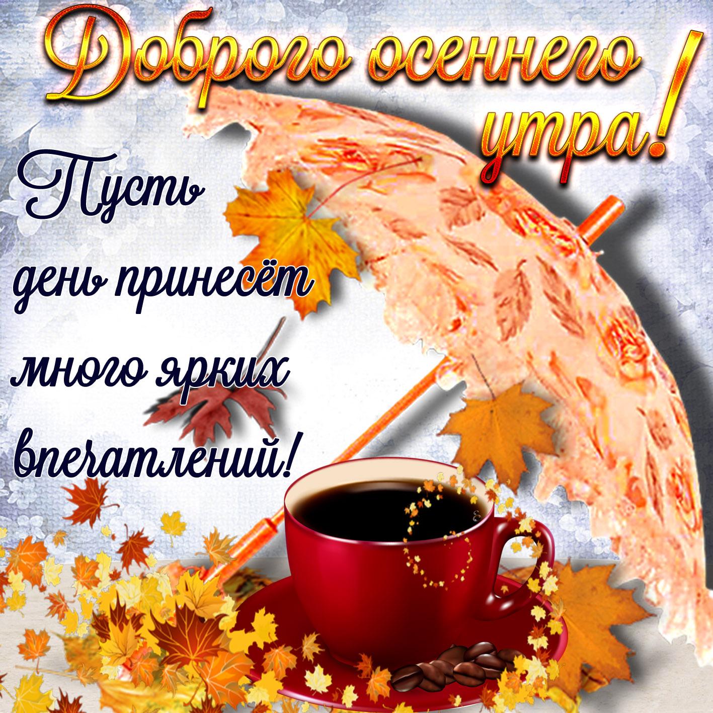 Открытки доброго осеннего утра и хорошего настроения на весь день, учителю