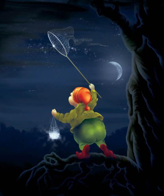 Картинка с спокойной ночи с гномами с эффектами