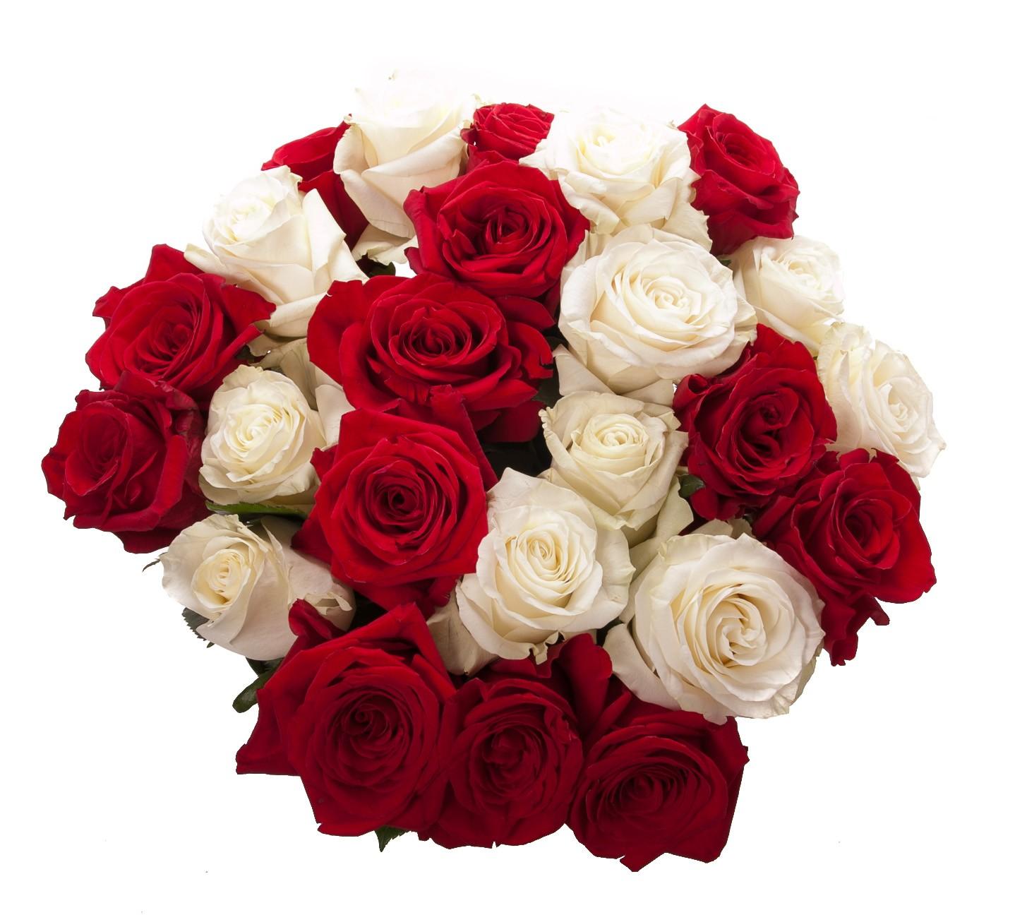 Букеты красных и белых роз, букетов метро марьино