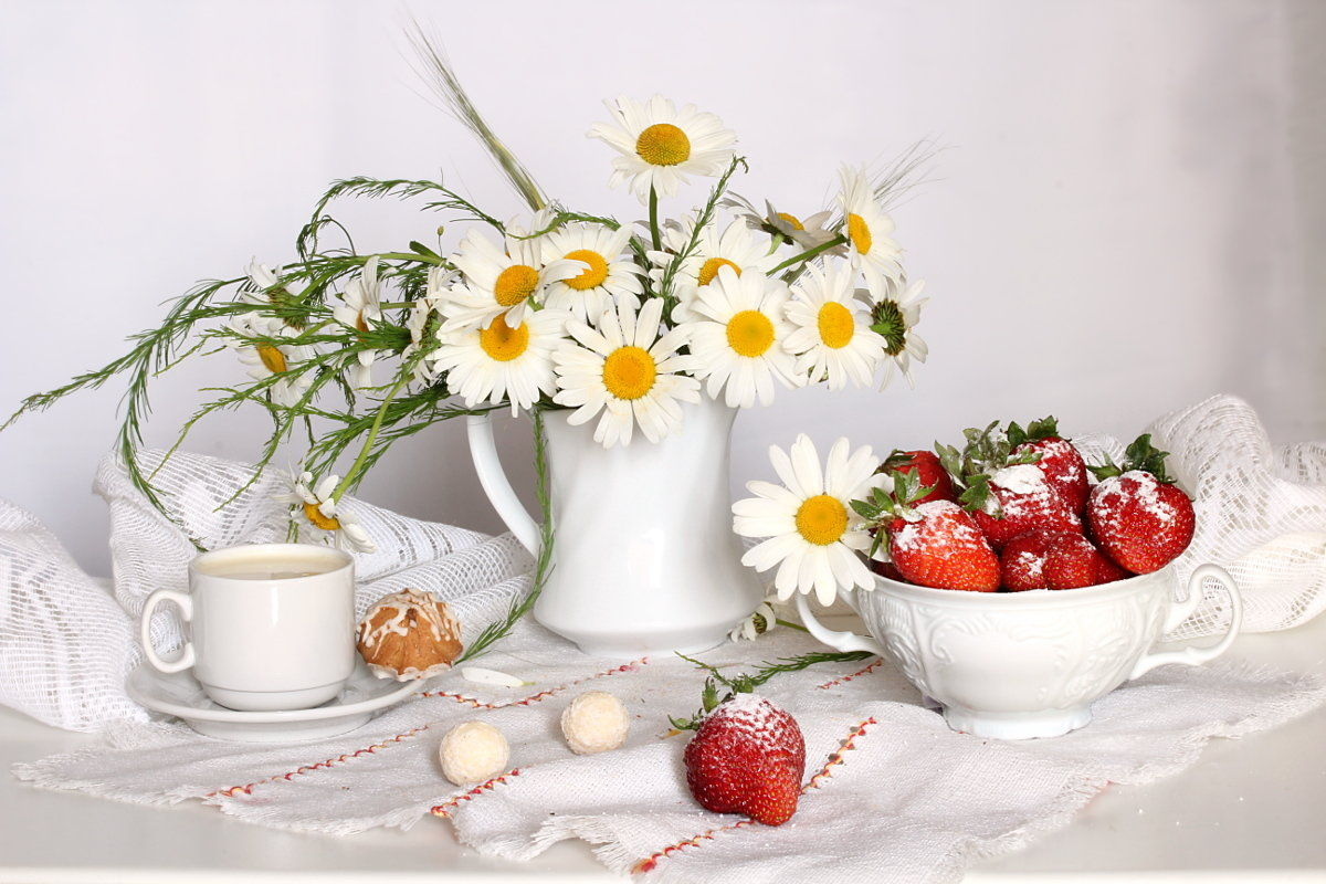 Открытка доброе утро ромашка, пирожные