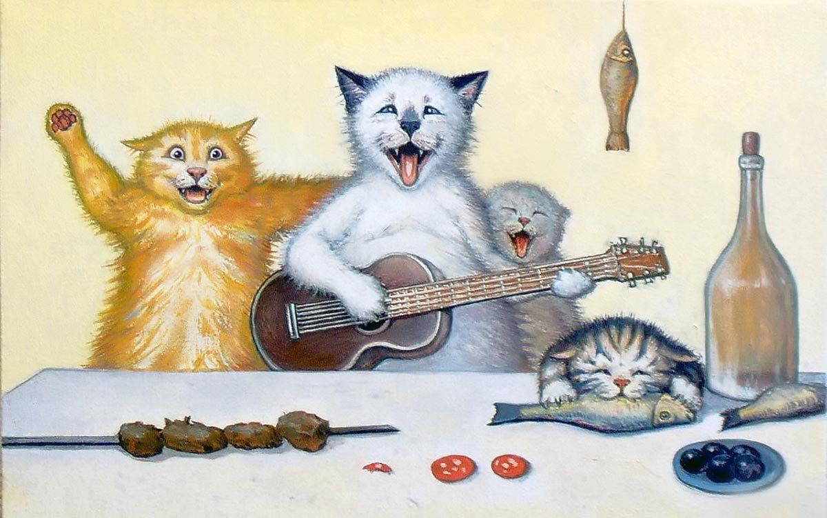 Открытки с днем рождения прикольные котики