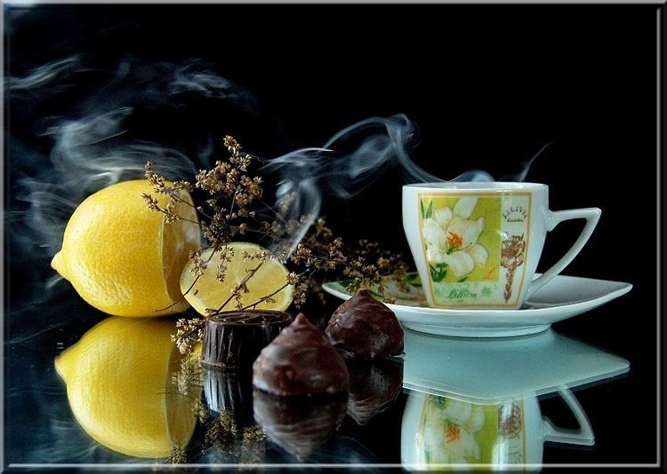 Открыток, чай с лимоном открытка