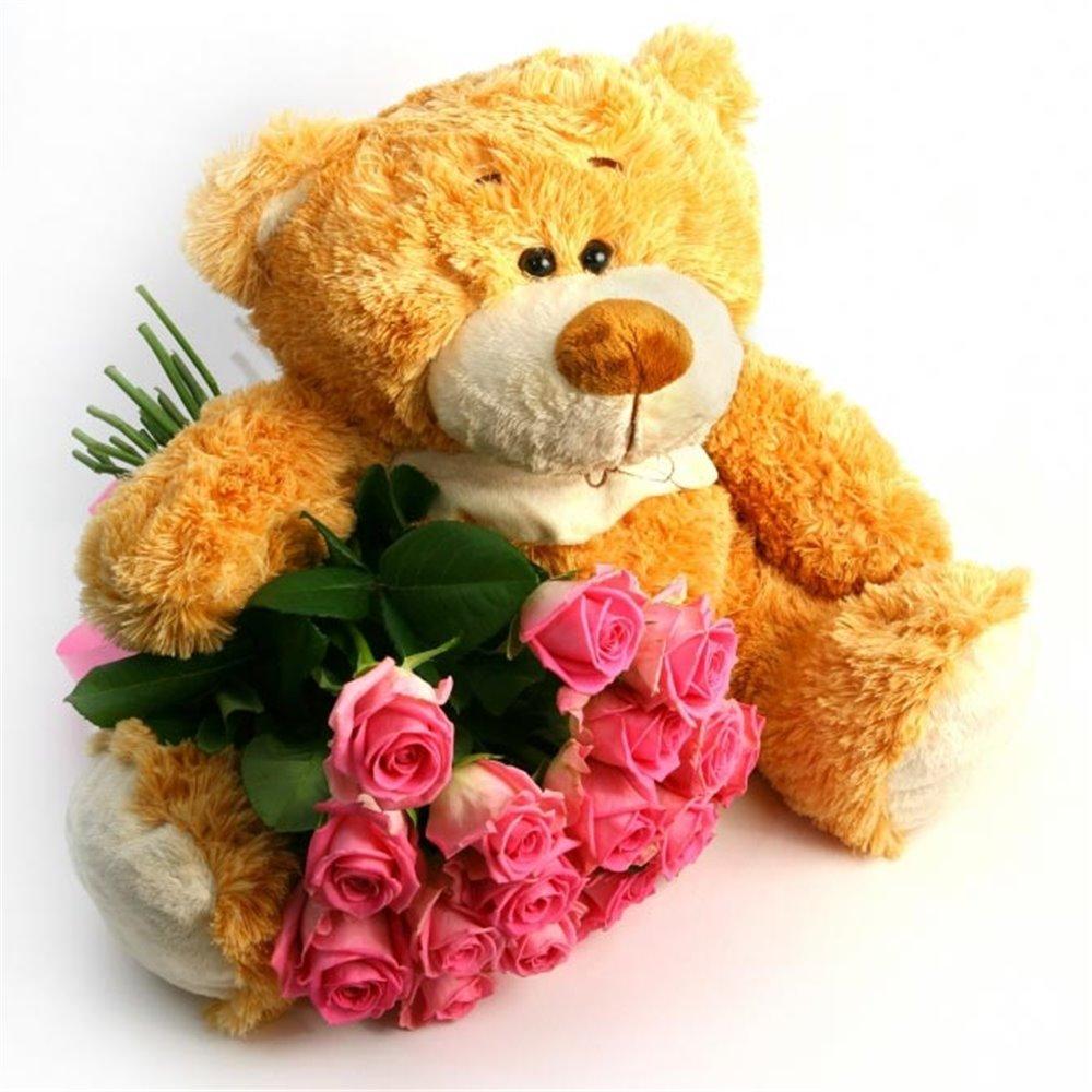 Картинки с днем рождения мишка и цветы, поздравления днем