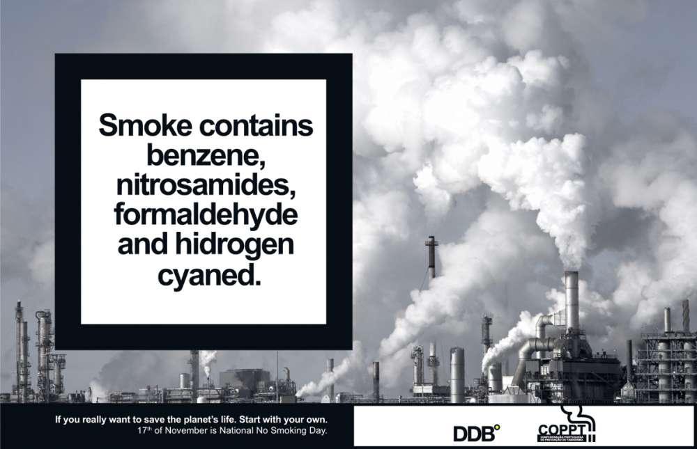 Smoke contains benzene, nitrosamides, formaldehyde and hidrogen cyaned