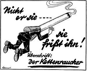 Плакат «Заядлый курильщик». Подпись: «Не он её, а она жрёт его»